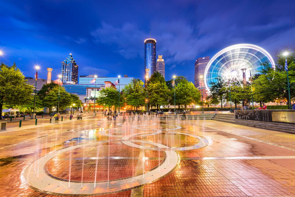 Centennial Olympic Park at night fountains and Ferris wheel Atlanta, Georgia