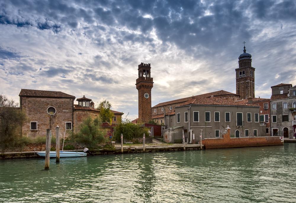 Clock tower, Campo Santo Stefano on the Murano island. Venice, Italy