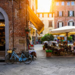 Old cozy street in Lucca, Italy. Lucca is a city and comune in Tuscany. It is the capital of the Province of Lucca.