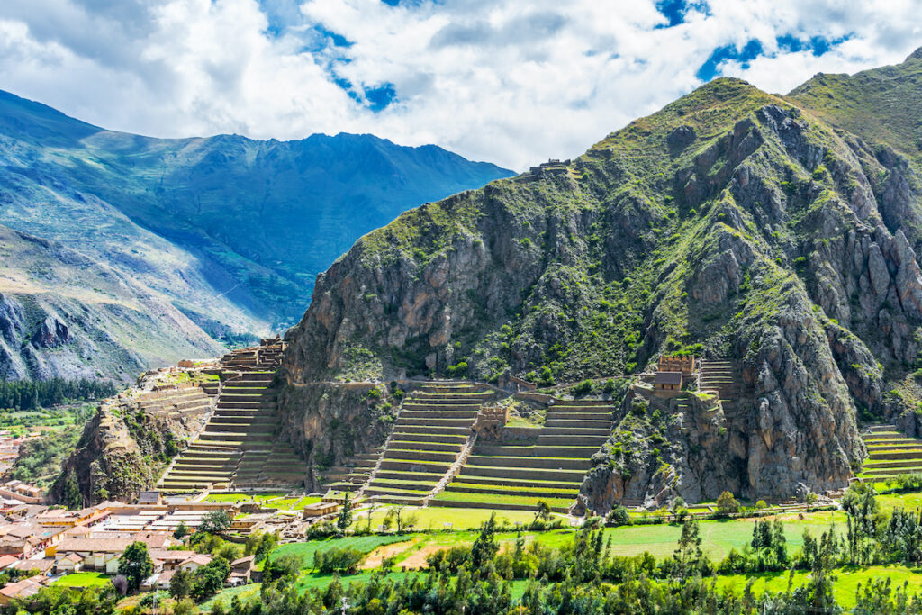 Inca Fortress with Terraces and Temple Hill in Ollantaytambo, Cusco, Peru.