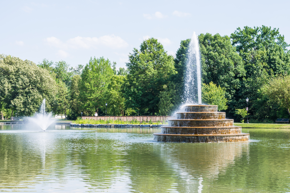 Fountains in Baker Park in Frederick, Maryland.