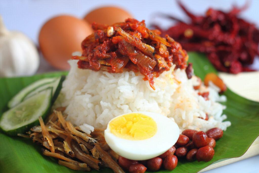 Nasi lemak in Malaysia.