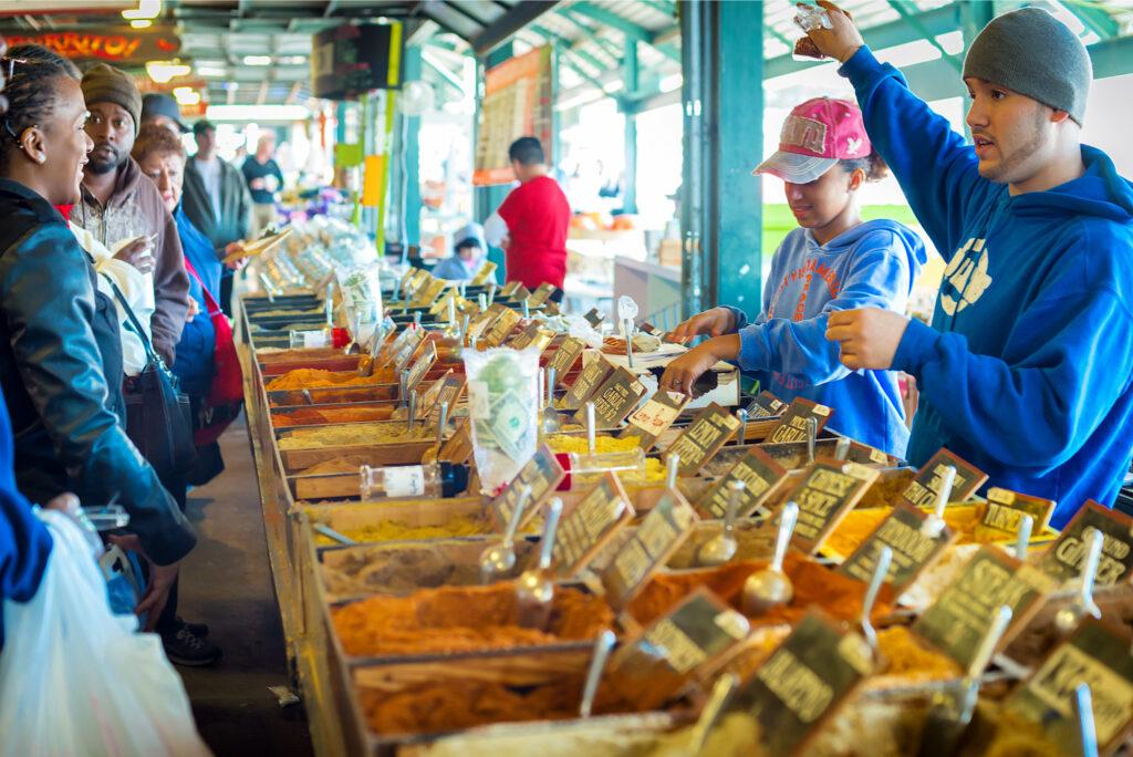 Scene at the Kansas City farmers market.