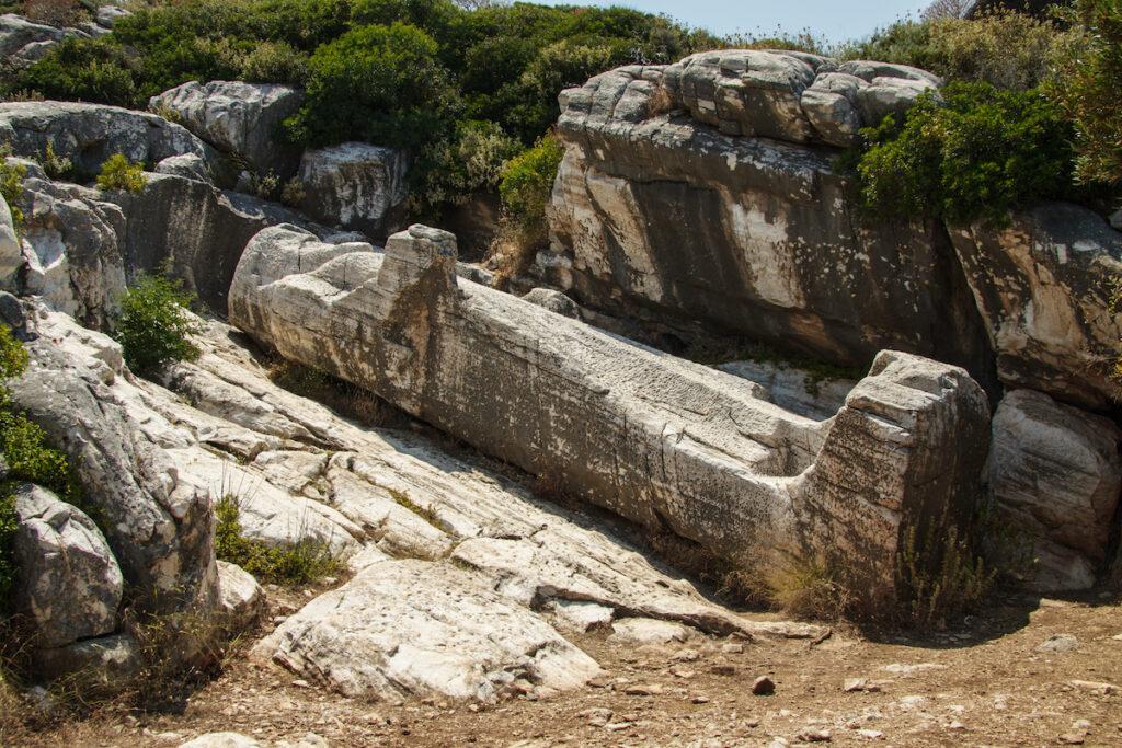 Apollon or Dionysos statue, Naxos, Greece.