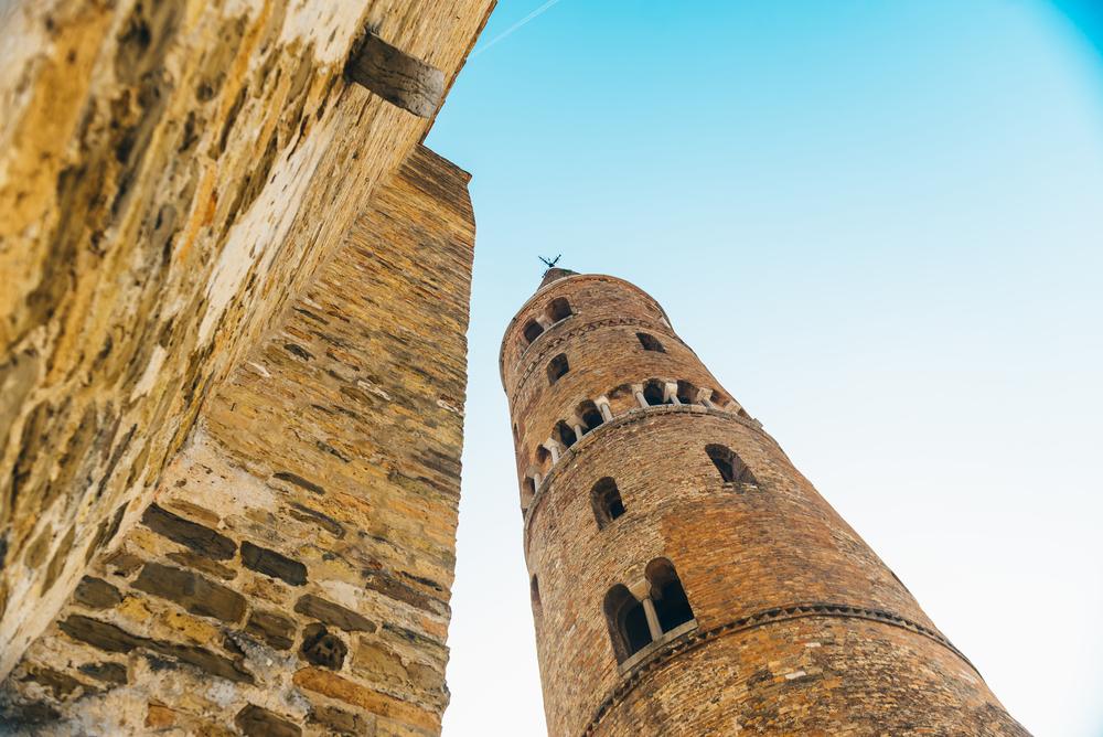 Belltower Duomo Santo Stefano on the seacoast coast in Caorle Italy