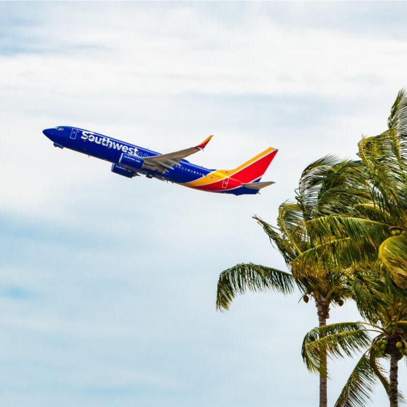 Southwest Airlines flight over Honolulu, Hawaii.