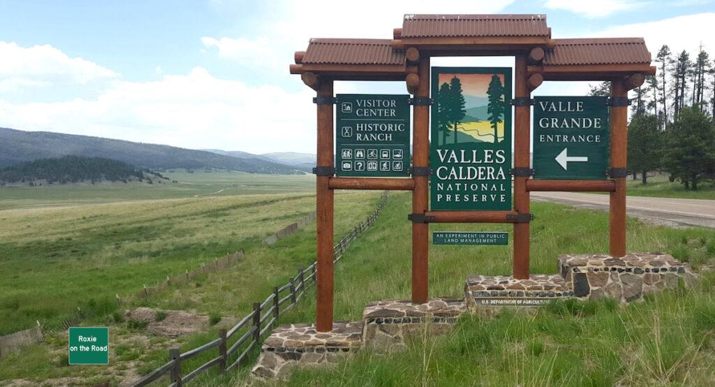 Valles Caldera National Preserve entrance sign in New Mexico.
