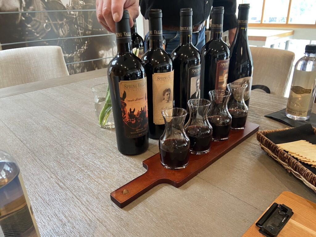 Red wine tasting at Spring Valley Vineyards.