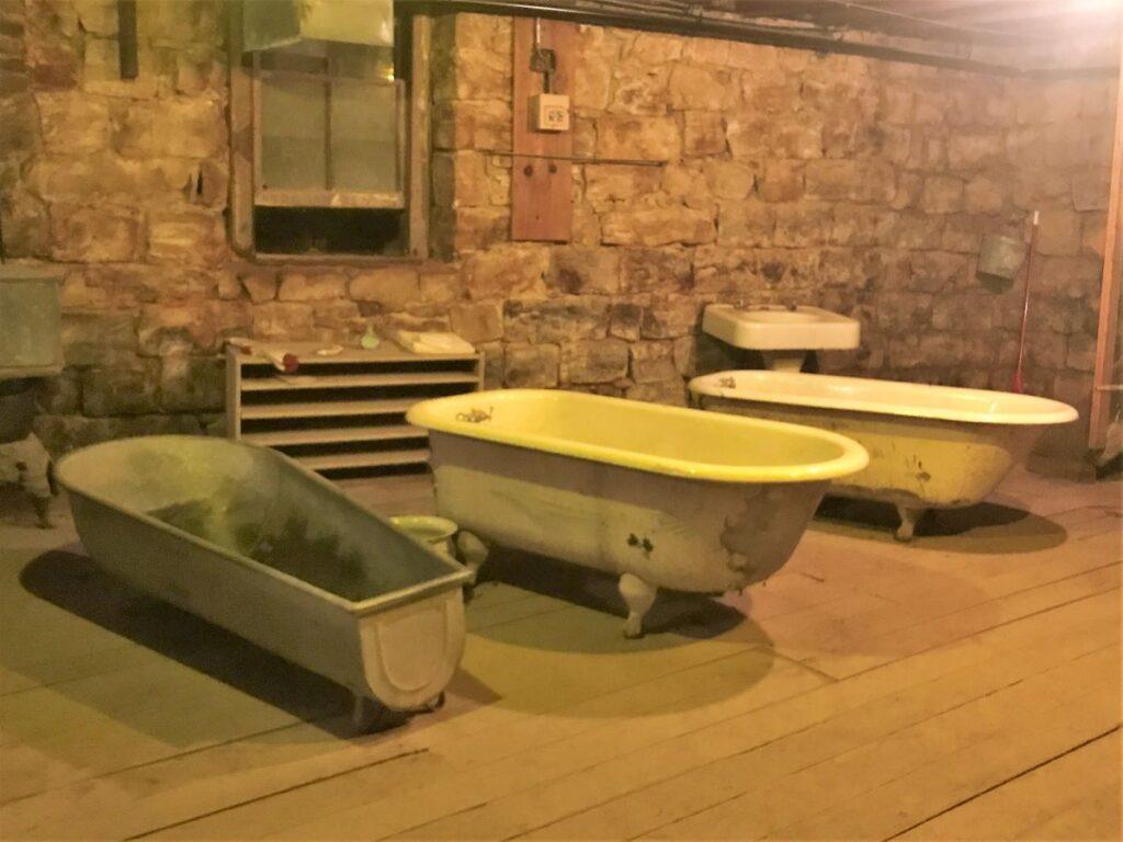 The underground Ellinwood bathhouse in Ellinwood, Kansas.