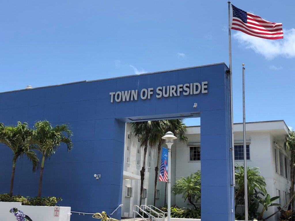 Town of Surfside on Building with flag