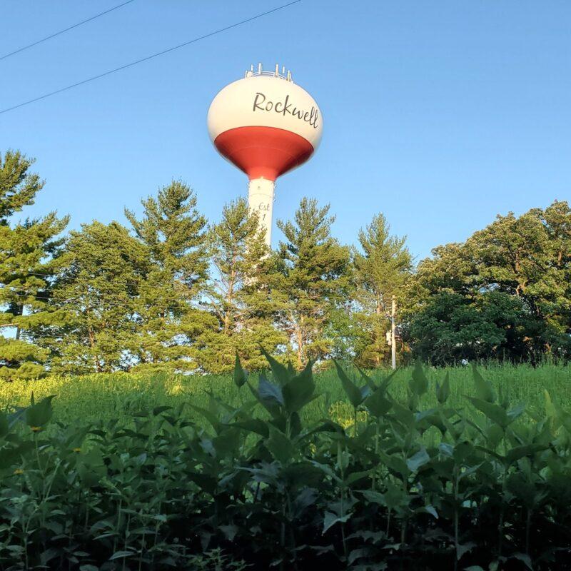 Rockwell, Iowa, water tower.