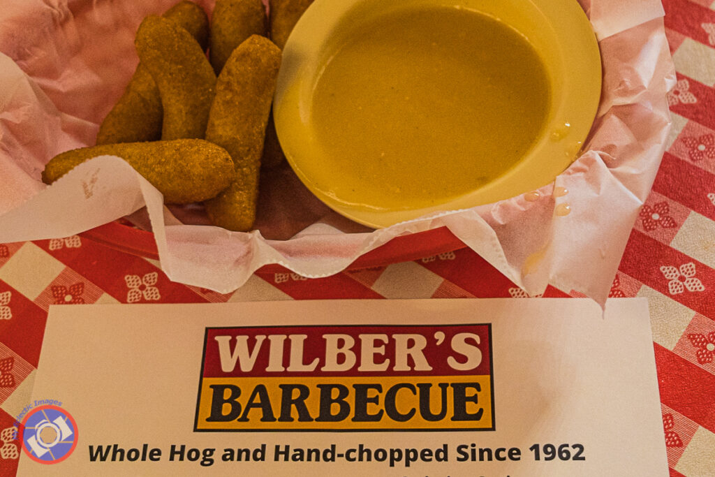 Hush Puppies and Chicken Gravy instead of Rolls and Butter at Wilbers BBQ.