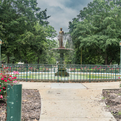 Fountain in Hermanns Park in Goldsboro, North Carolina.