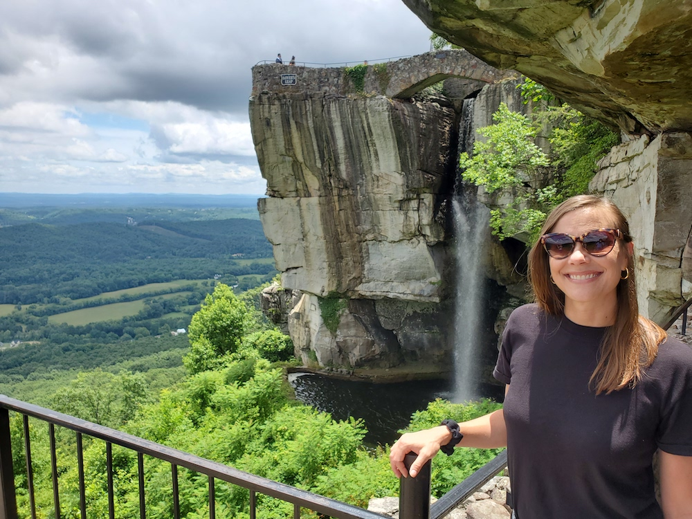 Laura Ray in front of High Falls Rock City Lookout Mountain