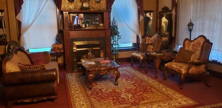 The main seating room at the Historic Hotel Argo, Crofton, Nebraska.