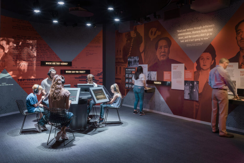 Visitors at the Truman Library Institute engage in an immersive experience to enhance education around the cold war.