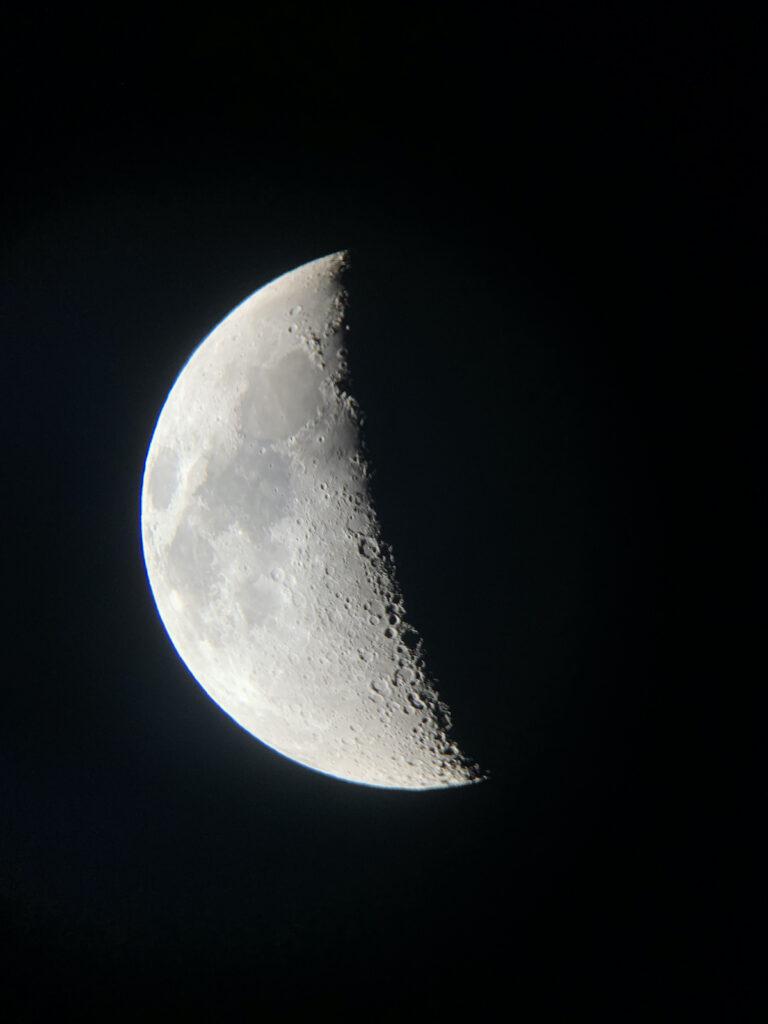 Close up of half moon.