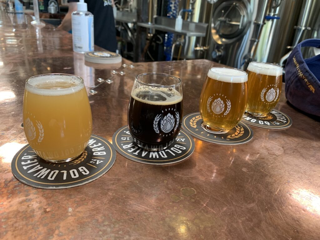 Variety of beers at Goldwater Brewing Company.