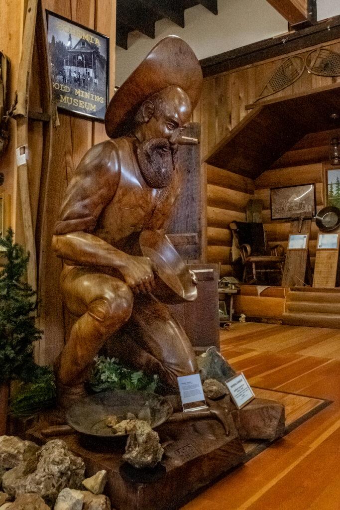 """Bohemia Johnson"" sculpture at the Bohemia Gold Mining Museum, Cottage Grove, Oregon."