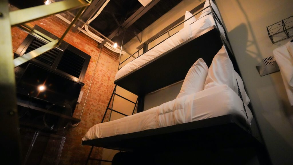 Prison cell beds at Station on the Riverwalk.