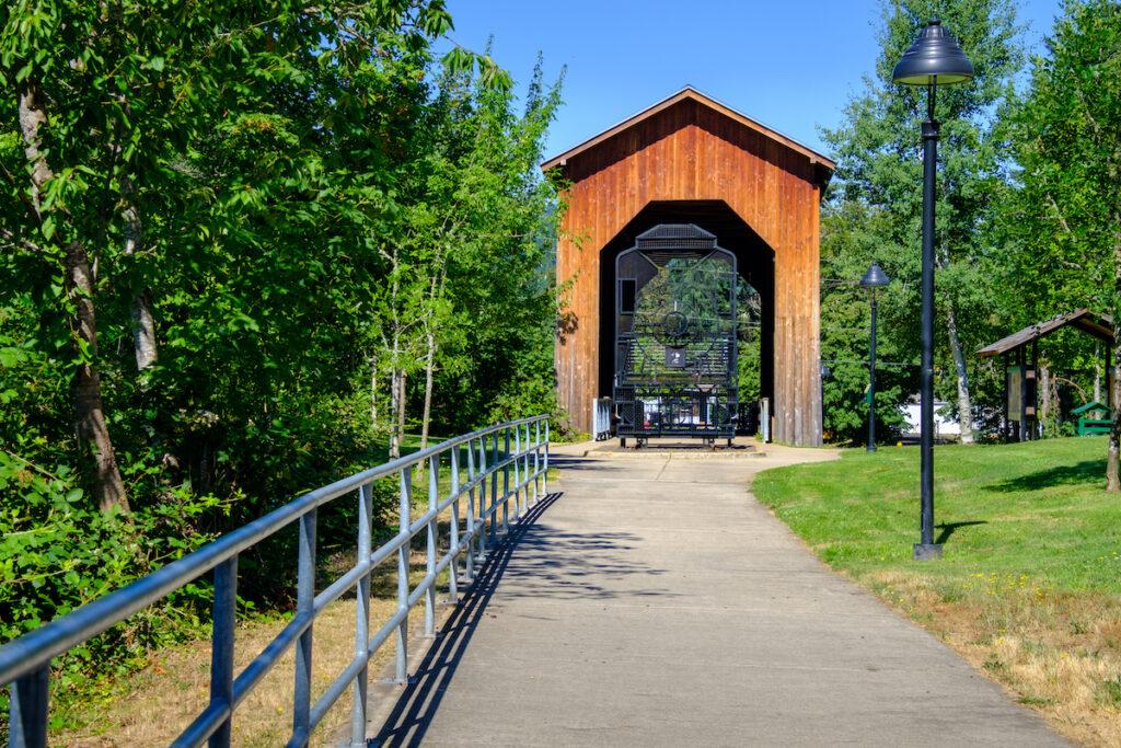 Chambers Covered Railroad Bridge in Cottage Grove, Oregon.