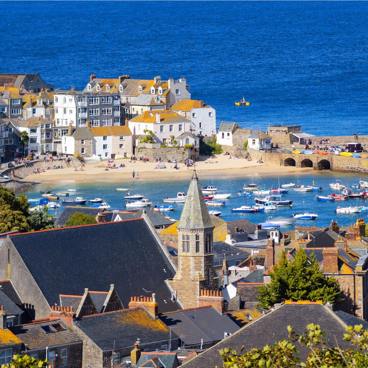 St Ives Old town, a popular seaside resort on atlantic coast, Cornwall, United Kingdom.