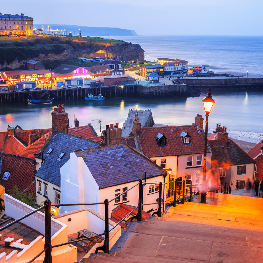 A view from the 199 steps in Whitby, North Yorkshire, UK.