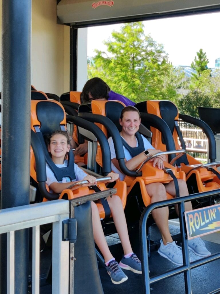 Strapped in and ready for the ride of their life on Rollin' Thunder.