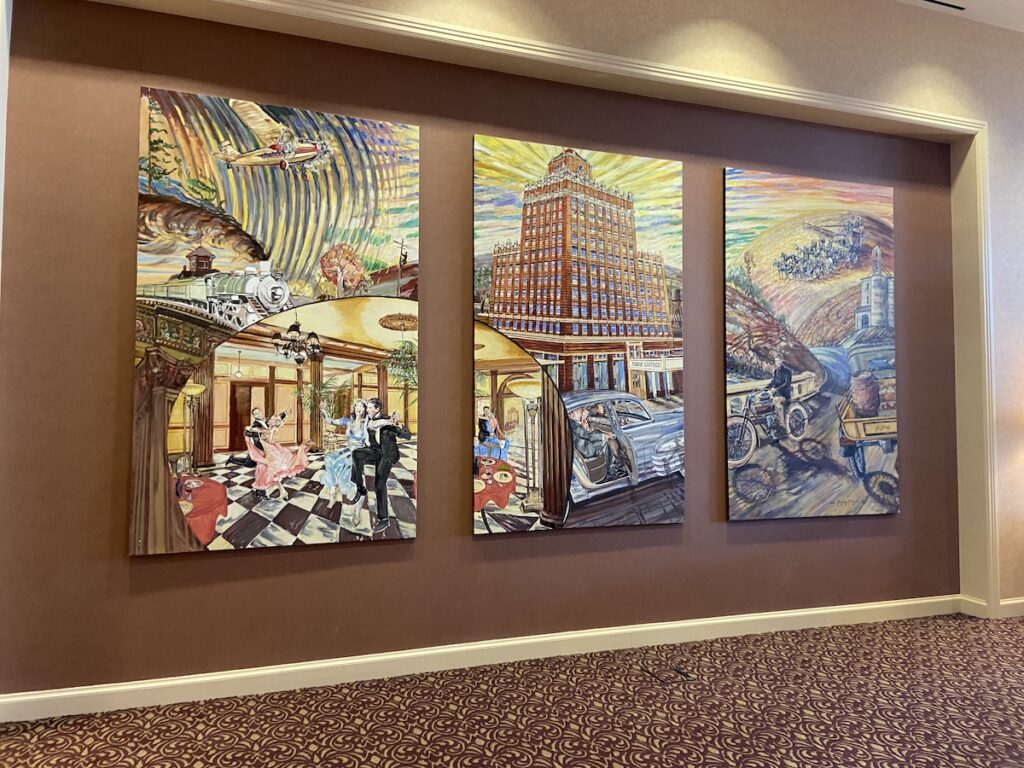 Marcus Whitman Hotel with historic mural in Lobby.