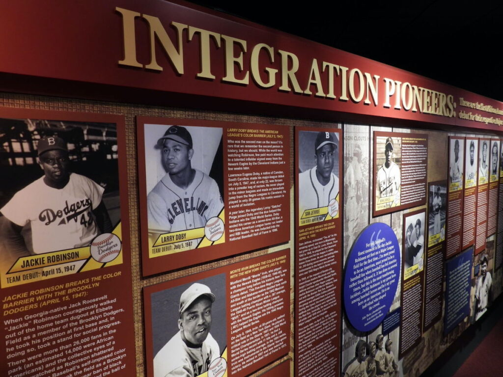 Negro Leagues Baseball Museum exhibit in Kansas City, Missouri.