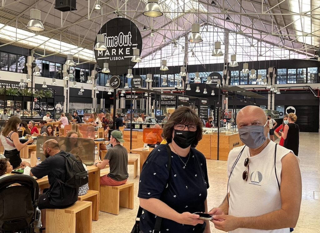 Diana and Kamruddin at Time Out Market Lisboa.