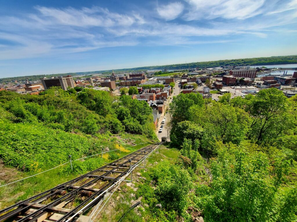 View of Dubuque, IA from world's shortest, steepest railroad