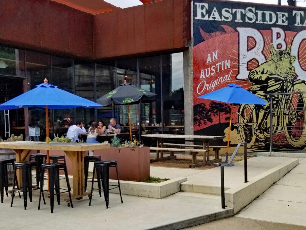 Outdoor dinning at Eastside Tavern in Austin, Texas.