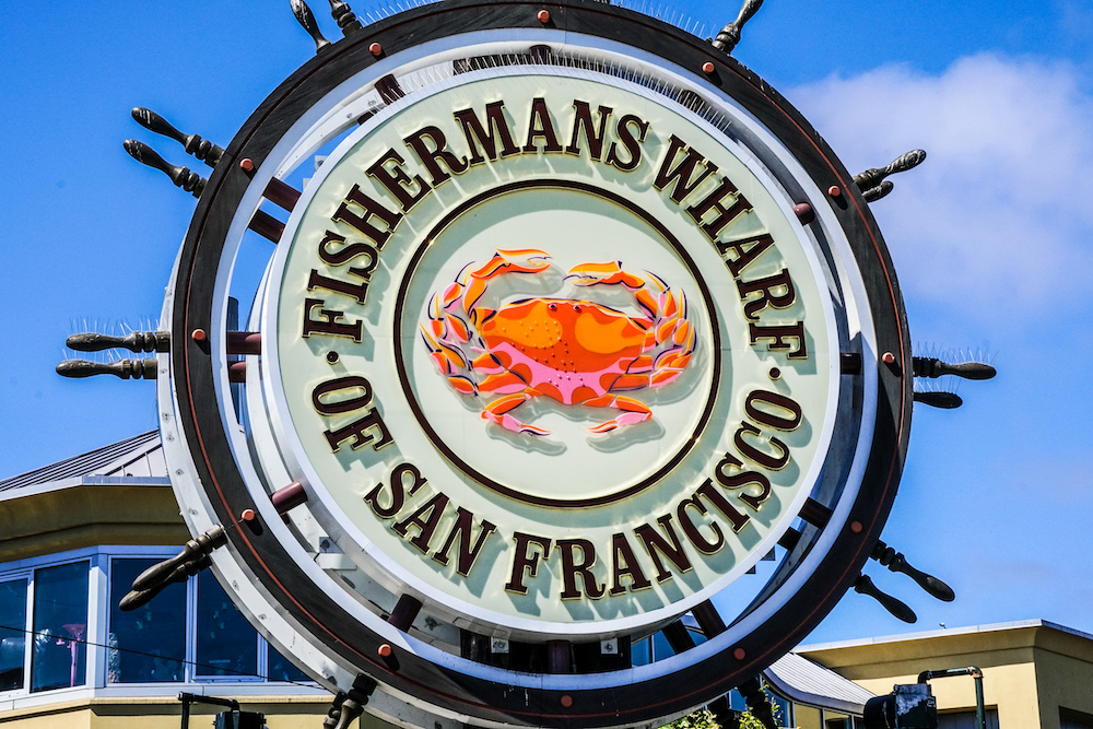 Fishermans Wharf San Francisco sign large crab