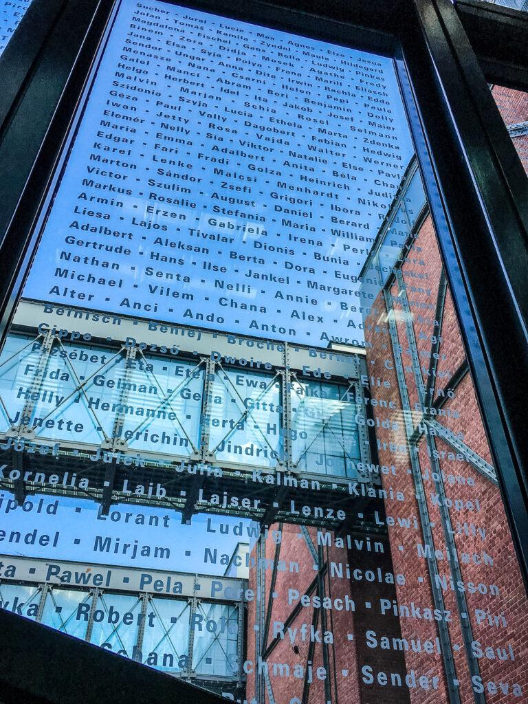 Glass etchings in US Holocaust Memorial Museum.