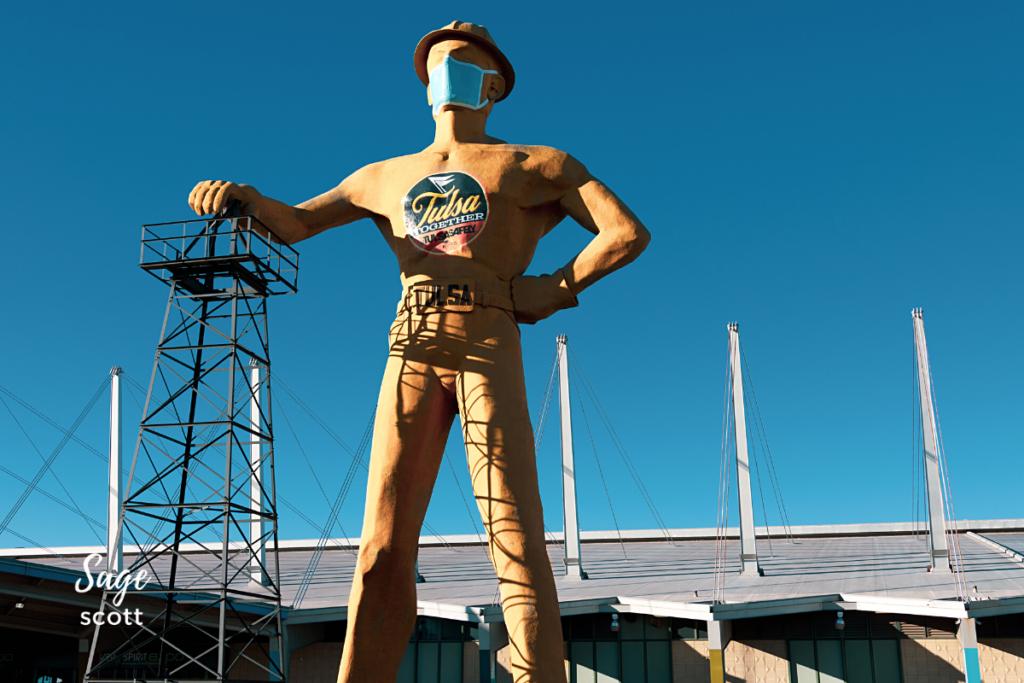 Golden Driller Statue in Tusla, Oklahoma.