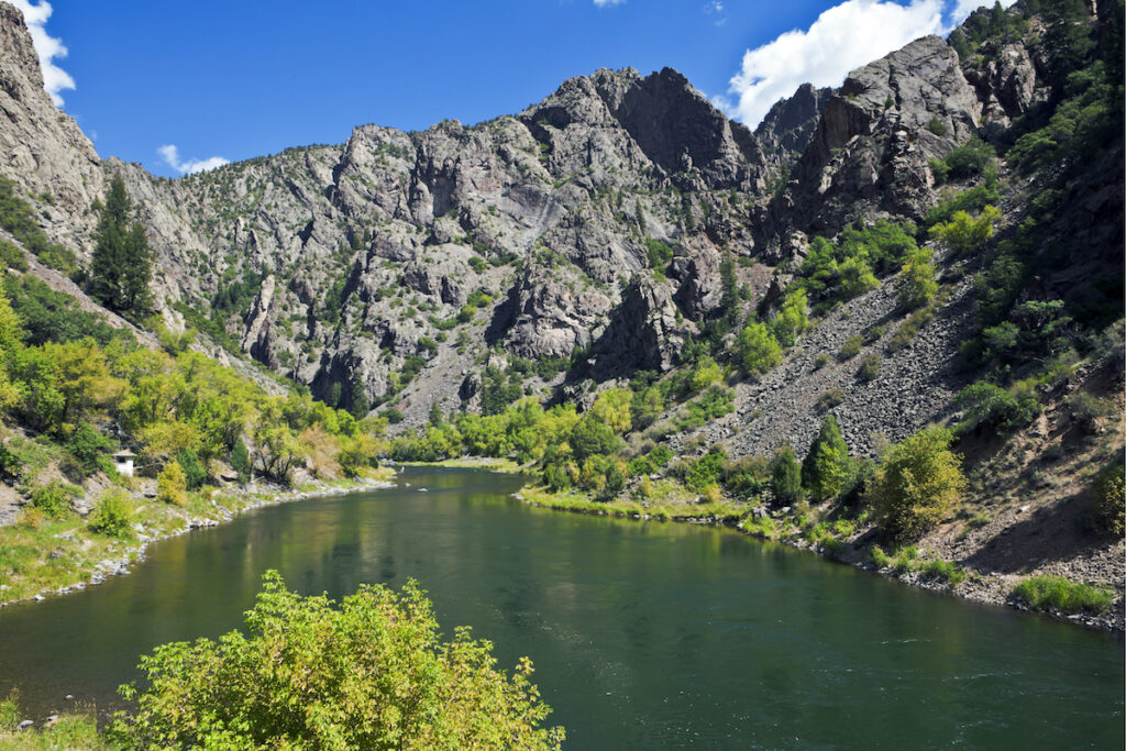Gunnison River in Black Canyon of the Gunnison National Park in Colorado, downstream.