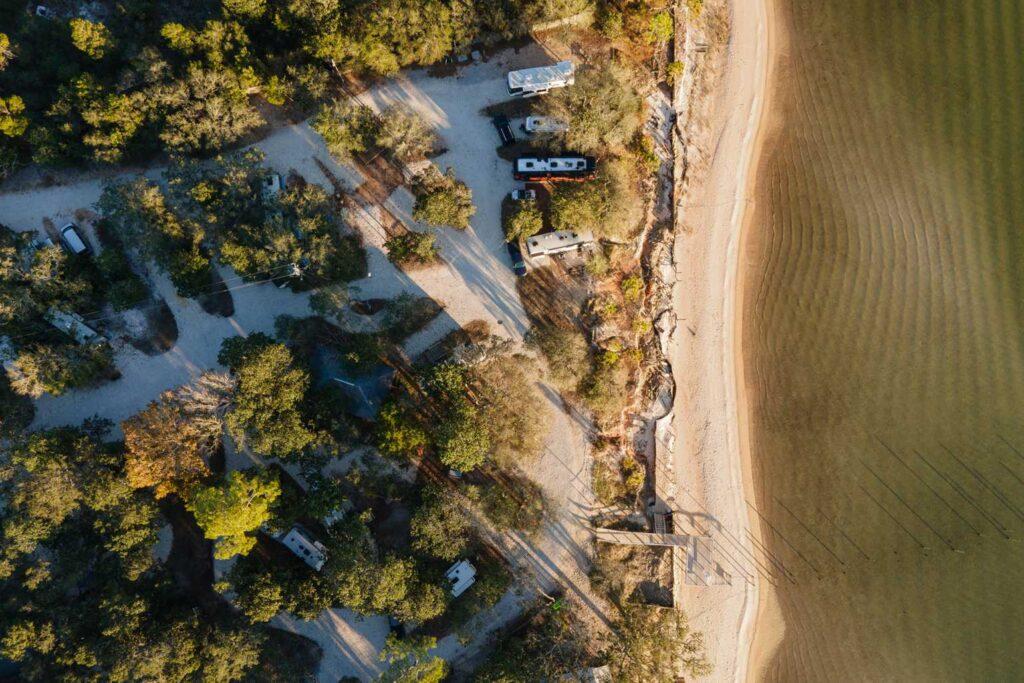 Aerial view of The Hideaway Retreate in Navarre, Florida