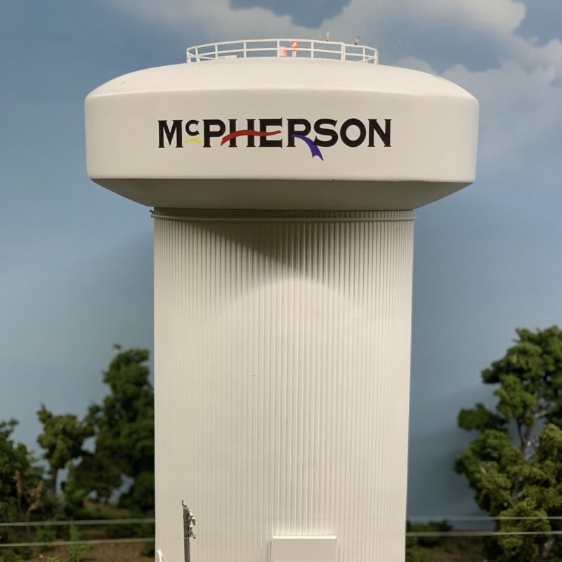 McPherson water tower display in the McPherson Museum and Arts Foundation.