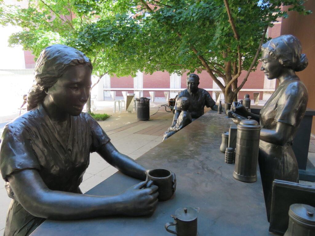 Lunch counter sculpture, Dreamscape Bronze Sculpture Collection, Wichita.