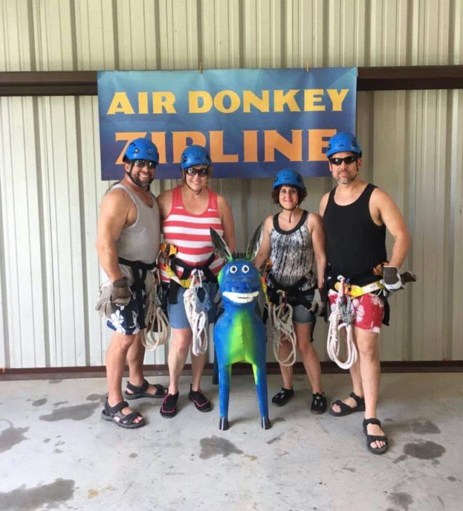 Suited up at Air Donkey Ziplines.