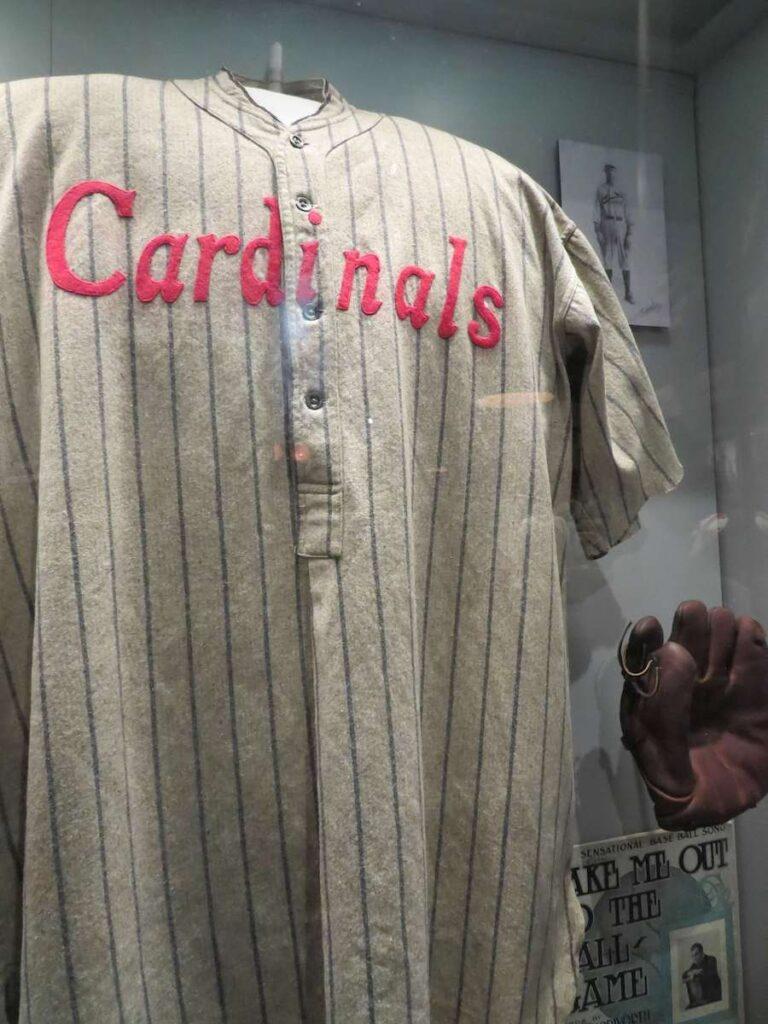 An early Cardinals uniform at the St. Louis Cardinals Museum.