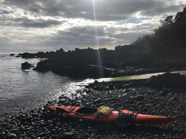 Kayaks parked in the Azores.