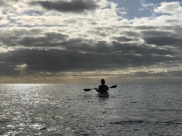 Kayaking in the Atlantic Ocean.