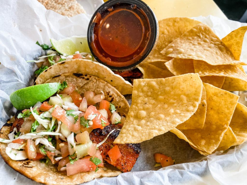 Blackened Mahi Mahi Fish Tacos served at the Ocean Grill and Tikki Bar.