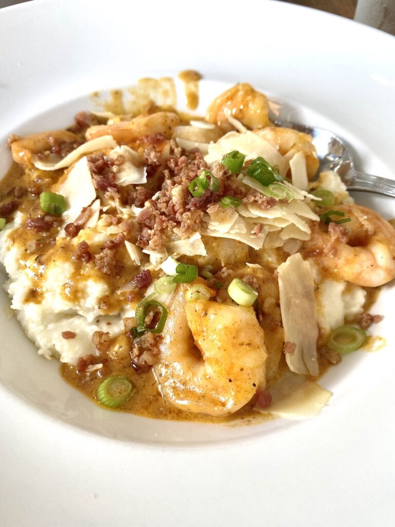 Shrimp and Grits at Bluewater Waterfront Grill.