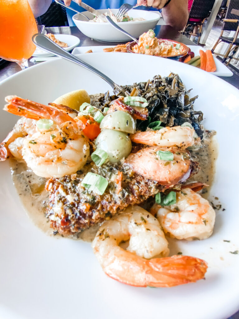 The unique Shrimp & Grits at the Pilot House in Wilmington, North Carolina.