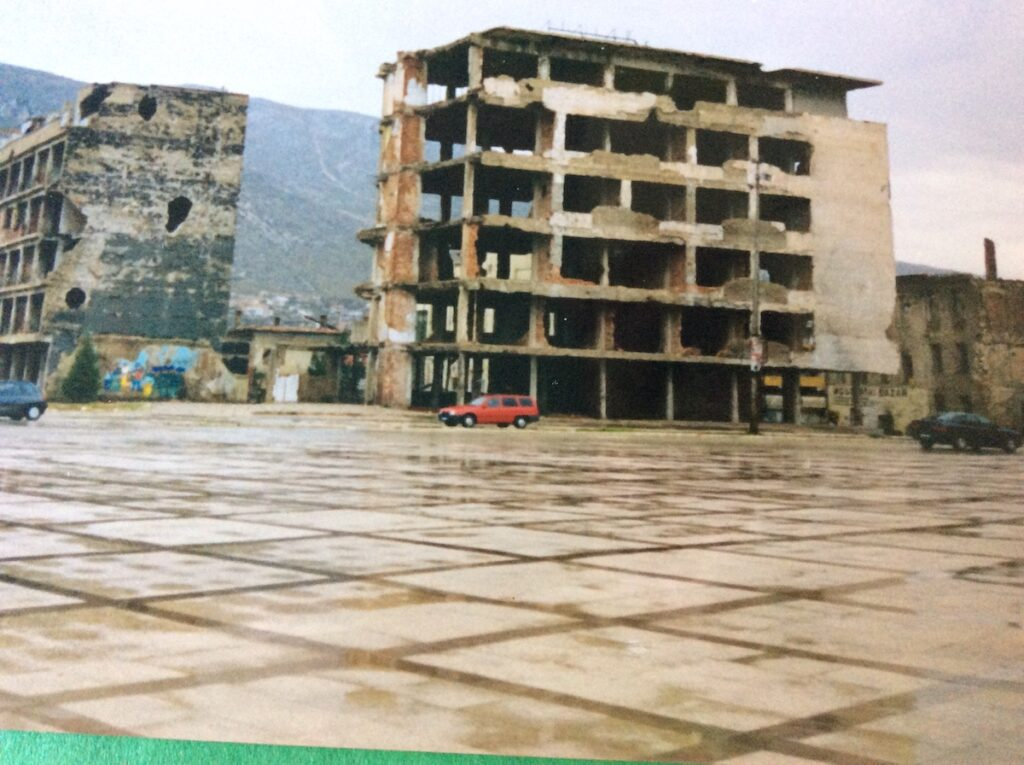 A destroyed building in late-'90s Bosnia.