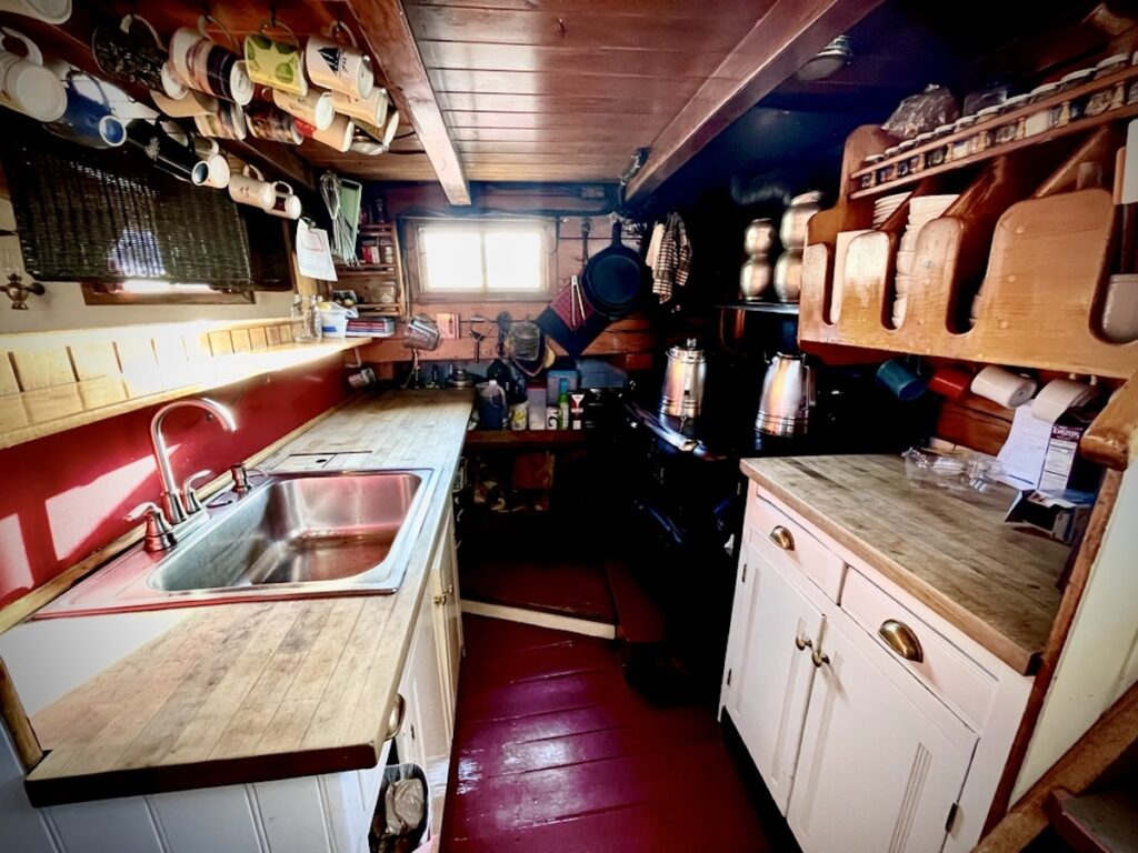 Incredible meals prepared in a tiny galley on a crawford cottage cookstove.