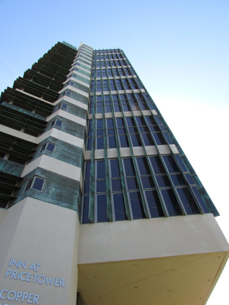 The Price Tower, now The Inn at Price Tower, is architect Frank Lloyd Wright's only realized skyscraper.